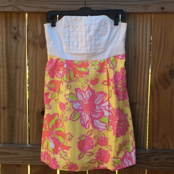 Lilly Pulitzer Strapless White Top floral Dress